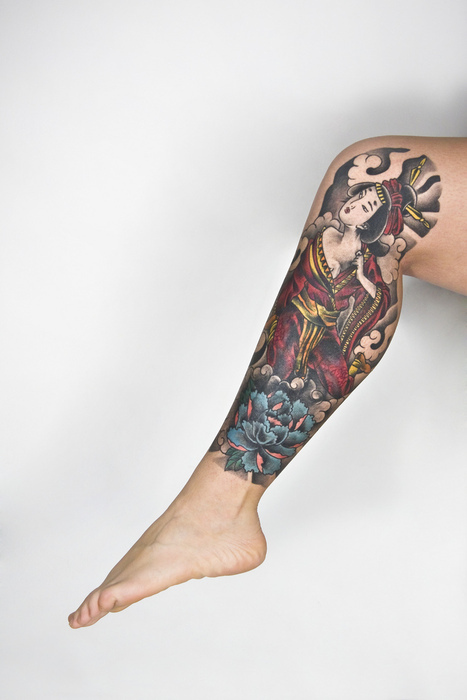 Japanese Painting Leg Tat