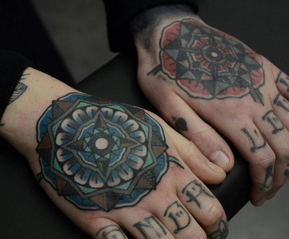 Red Blue Mandalas Tattoo Ideas