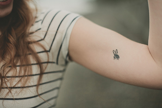 The gallery for cute tattoos for girls tumblr on wrist for Small bee tattoo