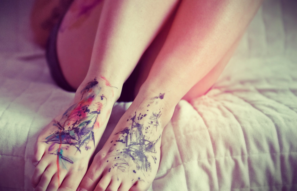 Watercolor Feet Tattoos