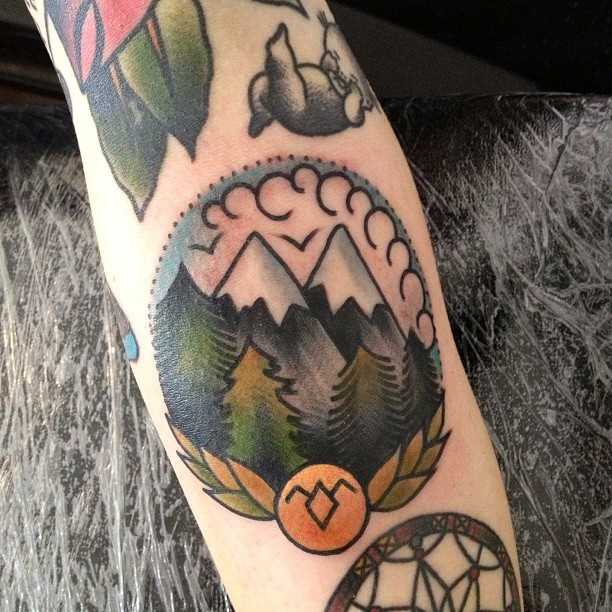 American Traditional Style Mountains Tattoo Best Tattoo Design Ideas