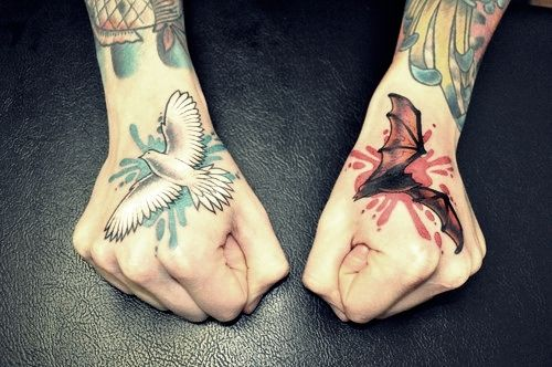 Bat & Pigeon Tattoo