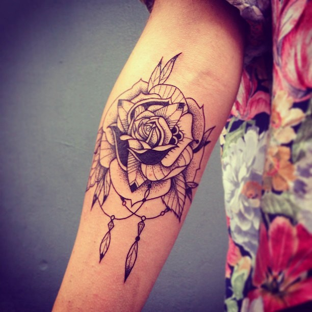 Beautiful Black Rose Tatt