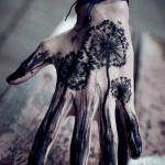 Black Dandelion Hand Tattoo