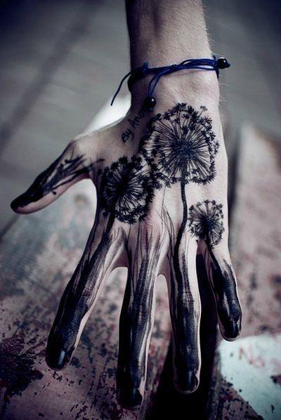 Black Dandelion Hand Tattoo