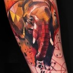 Watercolor Elephant Tattoo
