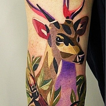 Colourful Geometric Deer Tattoo