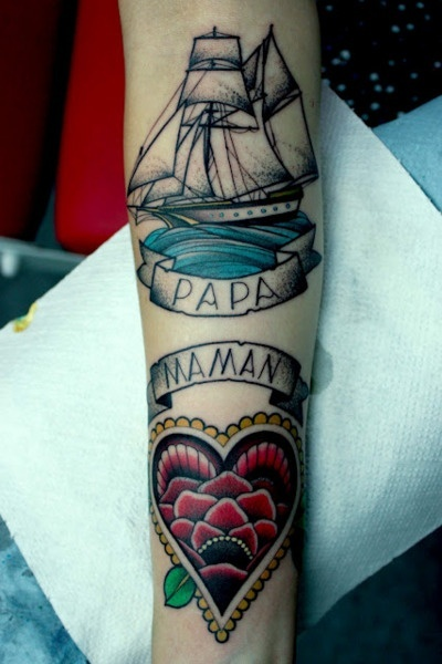 dad and mom tattoo on arm best tattoo design ideas. Black Bedroom Furniture Sets. Home Design Ideas