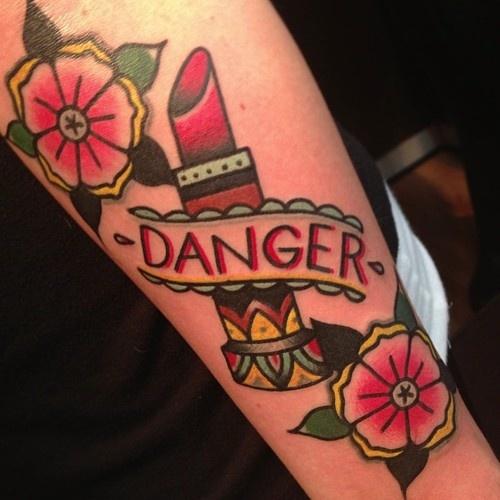 Danger best tattoo design ideas for Love lipstick tattoo