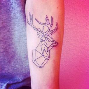 Geometric Deer Minimal Tattoo