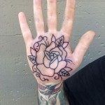 Rose Tat On Palm