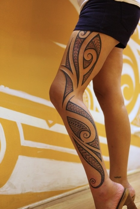 Beautiful Tribal Leg Tattoo