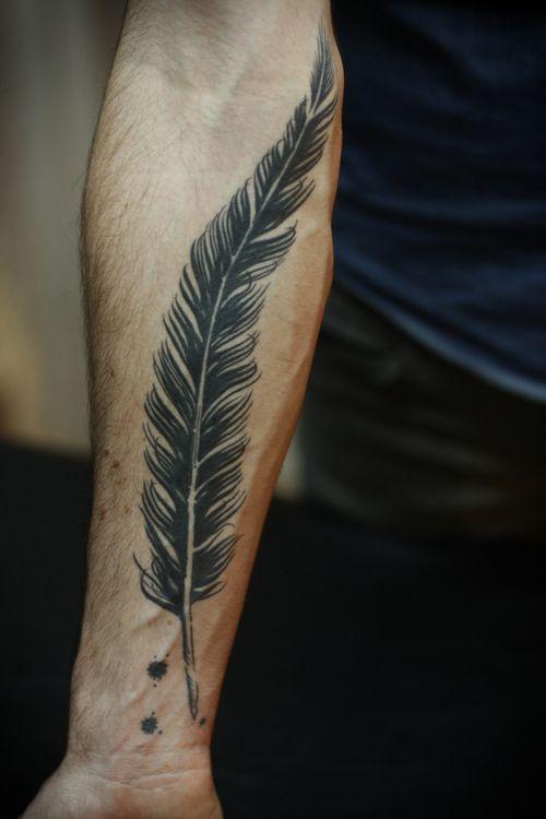 Big Black Feather Tattoo