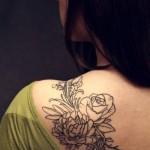 Elegant Flower Back Tattoo