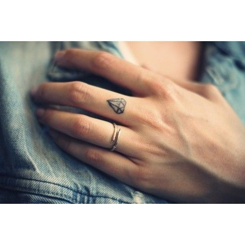 Minimal Finger Diamond Tattoo