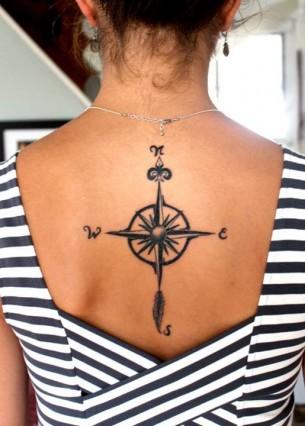 Hand Drawn Compass Tattoo