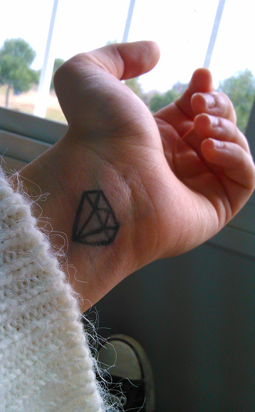 Little Diamond Tattoo On Wrist