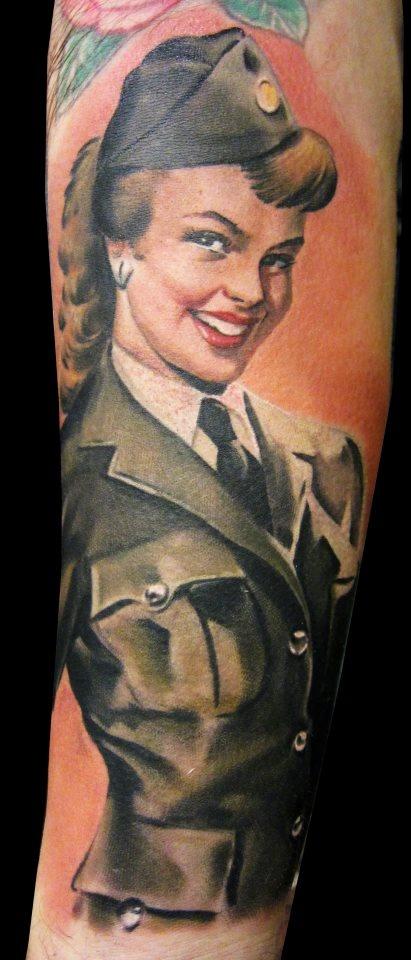 Military Pin Up Girl Tattoo By Matteo Pasqualin