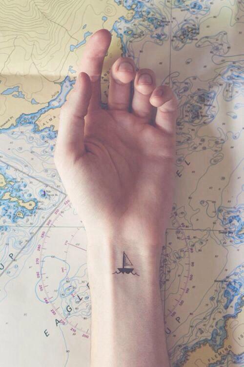 Minimal Ship Tattoo On Wrist