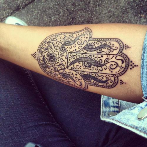 Stylized Hamsa Hand Tattoo