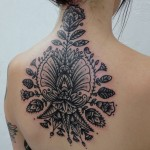 Amazing Floral Back And Neck Tattoo