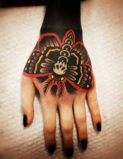 Black Arm And Butterfly Tattoo
