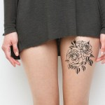 Black Rose Leg Tattoo