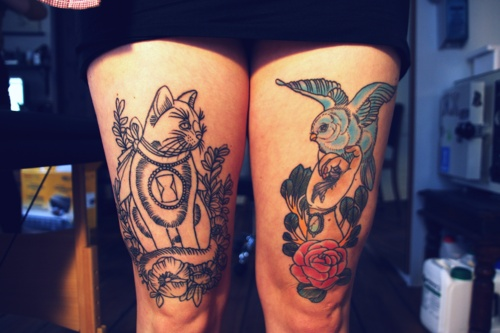 Cat And Bird Leg Tattoos