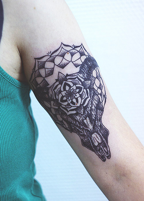 Bull Skull Arm Tattoo