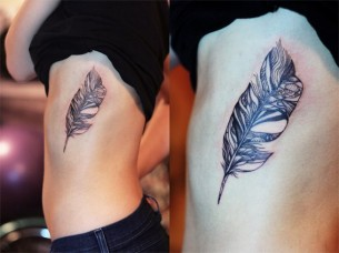 Feather Tattoo On Ribs