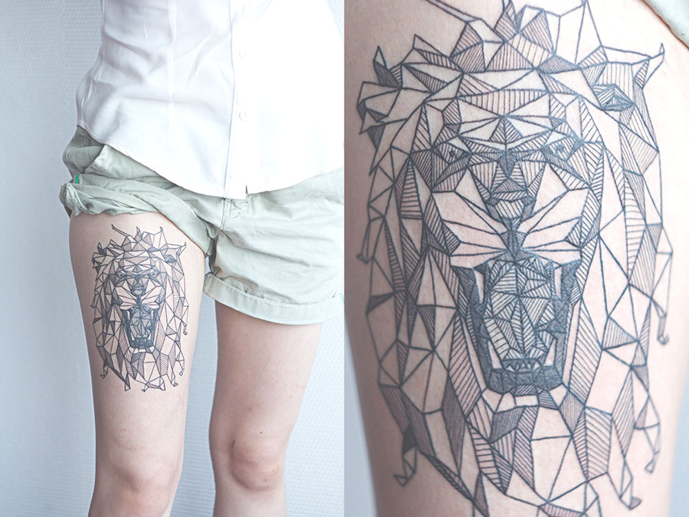 Geometric Lion Tat