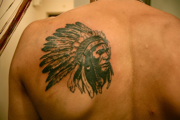 Indian Tattoo On Shoulder-Blade
