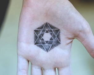 Metatron's Cube Palm Tattoo