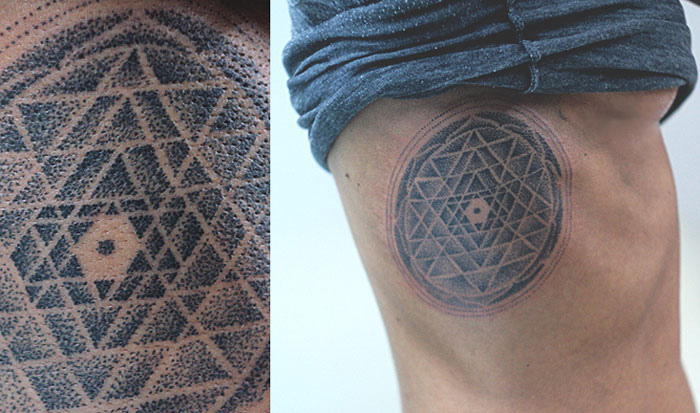 Sri Yantra Tattoo On Ribs
