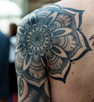 Black Mandala Shoulder And Sleeve Tattoo