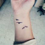 Cute Birds Tattoo On Wrist
