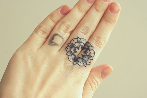 Cute Mandala Tattoo On Fingers