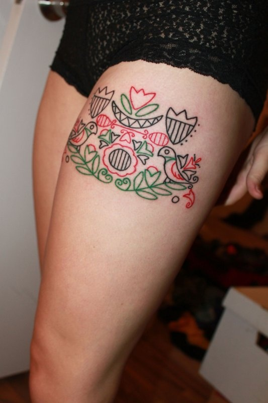 Hungarian Embroidery Tattoo On Thigh