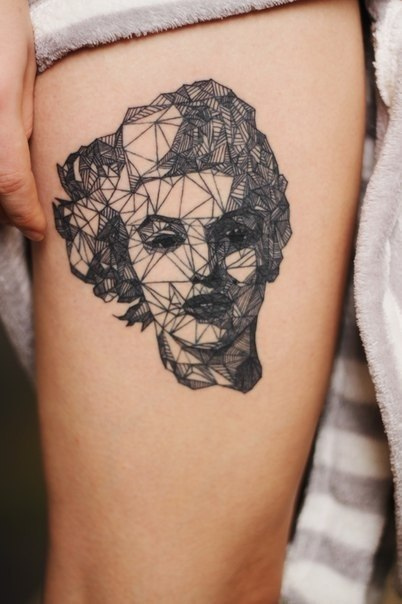Polygonal Monroe Tattoo On Hip