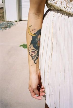 Skull And Moon Tattoo