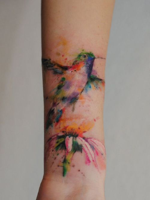 Watercolor Hummingbird Tattoo | Best tattoo design ideas