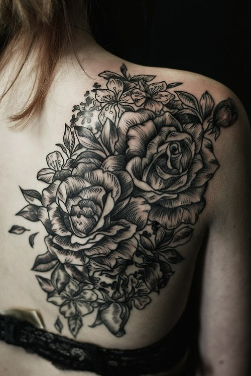 Black Floral Tattoo On Back
