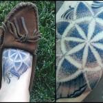 Dot Work Mandala Foot Tattoo