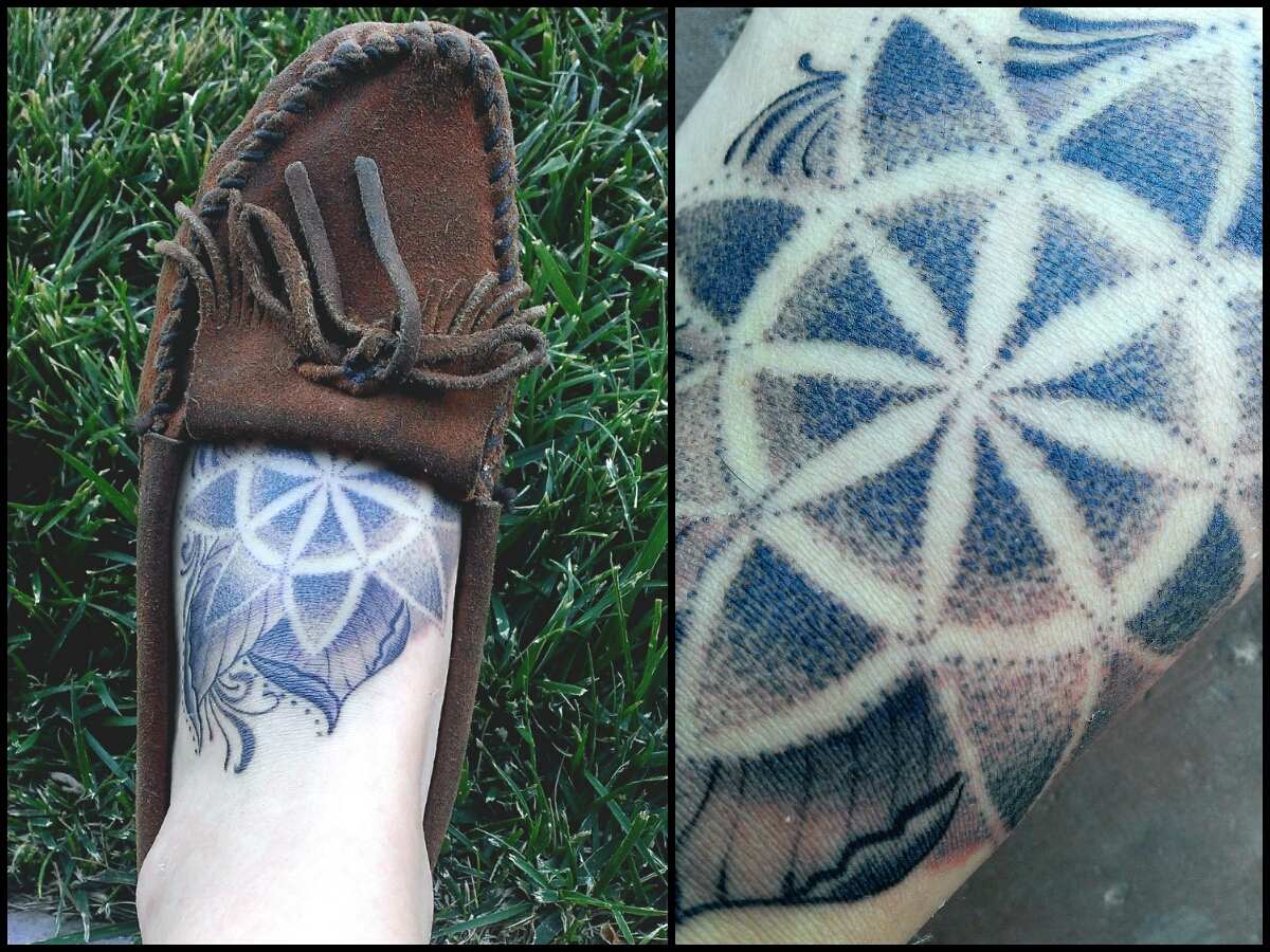 Dot Work Mandala Foot Tattoo