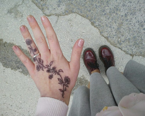 Flowers Hand Tattoo