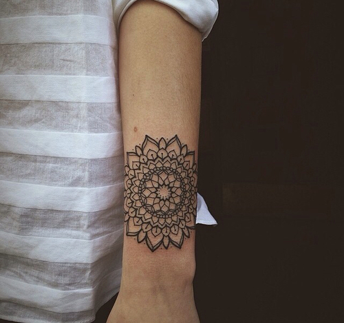 Forearm Black Mandala Tattoo