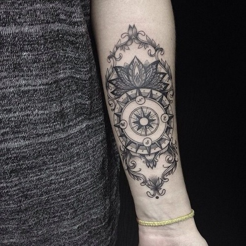 Amazing Black Compass Tattoo