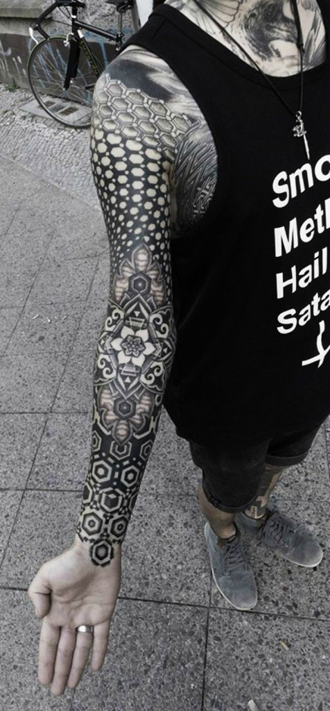 Amazing Full Arm Black Mandala Tattoo