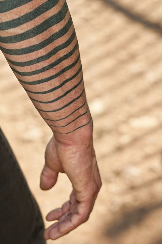 Awesome Black Lines Arm Tattoo