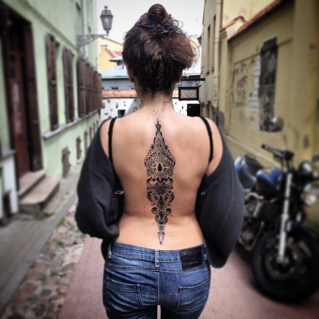 Black Tribal Back Tattoo